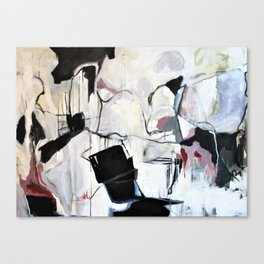 Many Road Abstract Contemporary Artwork Lines Marks Pink Black White Canvas Print