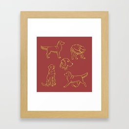 Golden Retriever Pattern (Terracotta Red Background) Framed Art Print