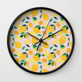 Citrus - Lemon Pattern Wall Clock