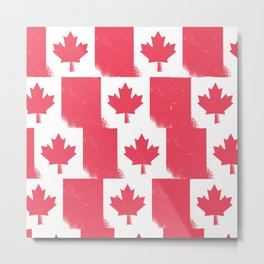 Canadian National Flag Pattern Metal Print