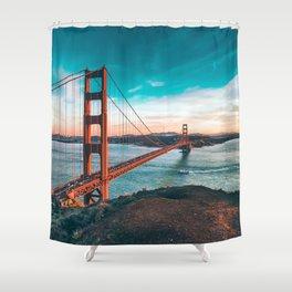 Fantastic Hillside View Famous Golden Gate Bridge San Francisco California USA Ultra HD Shower Curtain