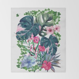 Tropical Plants Throw Blanket