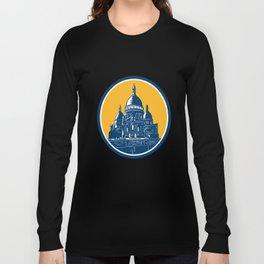 Dome of Sacre Coeur Basilica Paris Retro Long Sleeve T-shirt