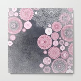 FESTIVAL FLOW - PINK GREY Metal Print