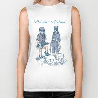 moonrise Biker Tanks featuring Moonrise Gotham by Ramon Villalobos