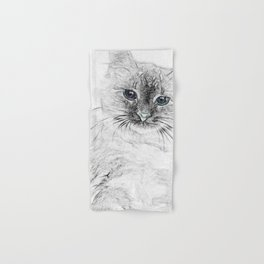 Siberian Kitty Cat Laying on the Marble Slab Hand & Bath Towel