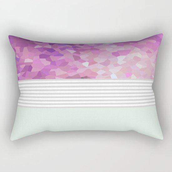 Pink Dreams on grey stripes Rectangular Pillow
