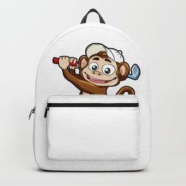 Monkey Playing Golf Minigolf par stroke tee hole Backpack