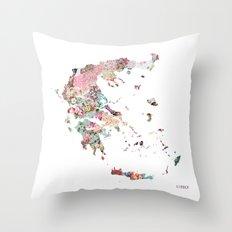 Greece map Throw Pillow