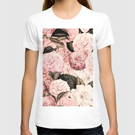 Vintage & Shabby Chic Pink Floral camellia flowers watercolor pattern T-shirt