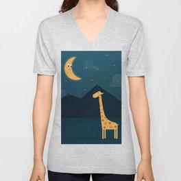 The Giraffe and the Moon Unisex V-Neck