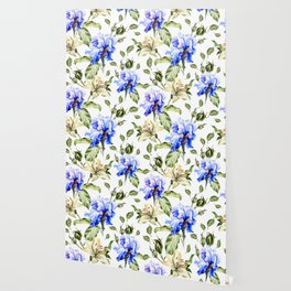 Irisis and lilies - flower pattern no3 Wallpaper