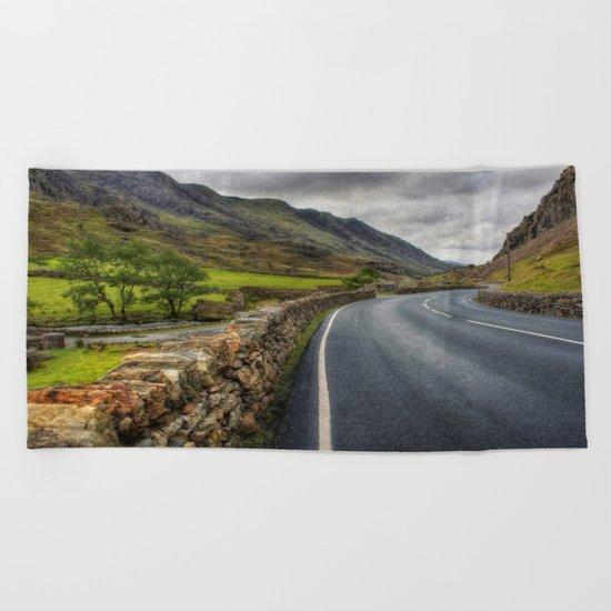 Llanberis Pass Winding Road Beach Towel