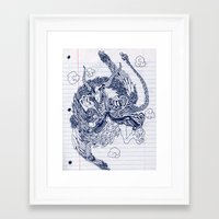 notebook Framed Art Prints featuring notebook dragon by Jordan Piantedosi