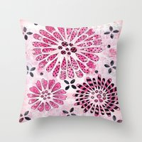 flower pattern Throw Pillows featuring Flower Pattern by Judy Skowron