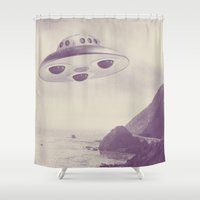 ufo Shower Curtains featuring UFO by Grafiskanstalt