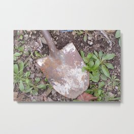 Rusty Old Shovel, Rusted Shovel In the Weeds, Old Used Shovel Metal Print