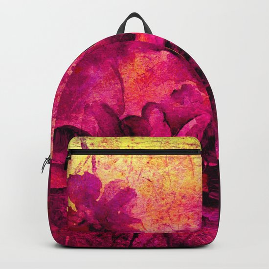 floral in deep pink and yellow Backpack