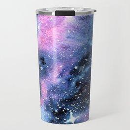 Twinkling Pink Watercolor Galaxy Travel Mug