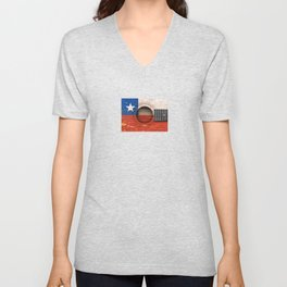 Old Vintage Acoustic Guitar with Chilean Flag Unisex V-Neck
