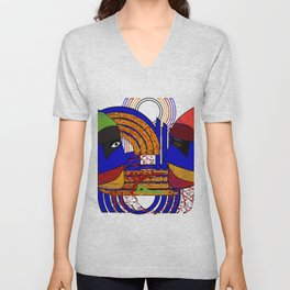 colorful abstract geometric statues Unisex V-Neck