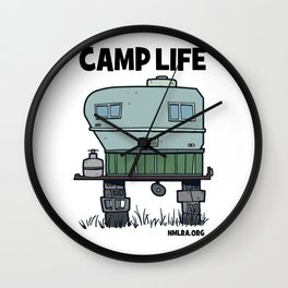 Camp Life - White Camp Life - Camper Camping Glamping RV Travel Throw Pillow Wall Clock