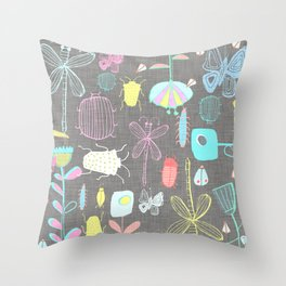 Insect watercolor grey textile texture Throw Pillow