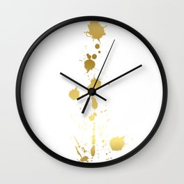 Golden abstract #2 Wall Clock