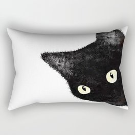 Sideways Black Cat Peeking Rectangular Pillow