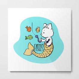Pisces Zodiac Sign. Cute Cat Zodiac. Astrological sign Pisces Metal Print