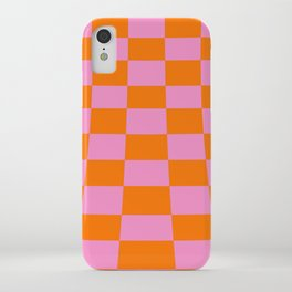 Warped perspective coloured checker board effect grid illustration orange and pink iPhone Case
