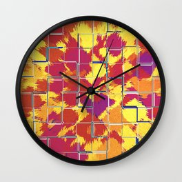Squares Red & Yellow Abstract Wall Clock