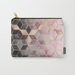 Pink And Grey Gradient Cubes Carry-All Pouch
