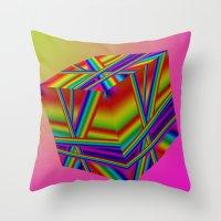 rap Throw Pillows featuring rainbow rap by Mango Katz
