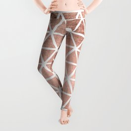 Geometric faux rose gold foil triangles pattern Leggings