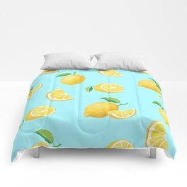 Lemons on Blue Comforters