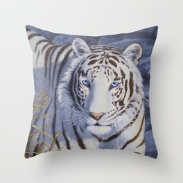 White Tiger with Blue Eyes Throw Pillow