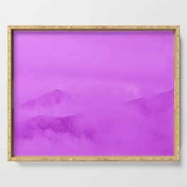 Magenta Fog Surrounding Anchorage Mountains Serving Tray