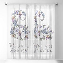Alice floral designs - Cheshire cat all mad here Sheer Curtain