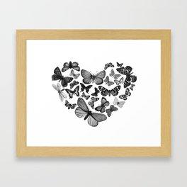 BUTTERFLY LOVE MONO Framed Art Print