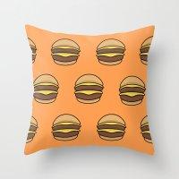 burger Throw Pillows featuring BURGER by KODYMASON