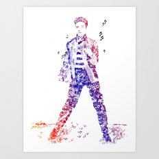Elvis Presley Jailhouse Rock Text Portrait (Color Gradient) Art Print