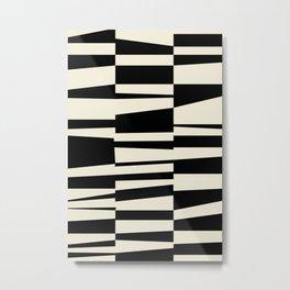BW Oddities II - Black and White Mid Century Modern Geometric Abstract Metal Print