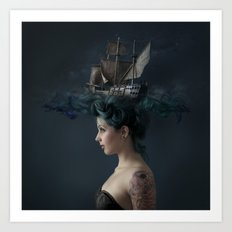 Sailing - Blue Art Print