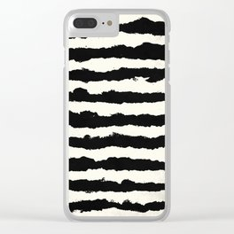 Horizontal Ivory Stripes Clear iPhone Case