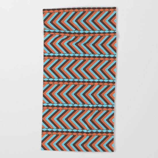 African abstract retro tribal   pattern.Turquoise and brown. Beach Towel