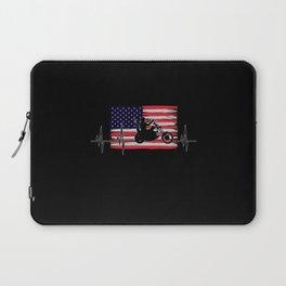Biker Design With USA Flag Laptop Sleeve