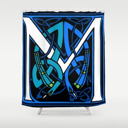 Celtic Peacocks Letter M Shower Curtain