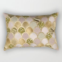 Rose gold glittering mermaid scales Rectangular Pillow