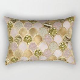 Rose gold glittering mermaid scales Rectangular Pillow
